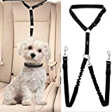 SCENEREAL Adjustable Dog Seat Belt -Double Pet Car Seatbelt Detachable Safety Bungee Lead for Dogs Cats