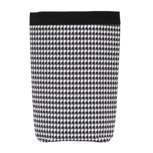 GreenGoose Car Bags Car Trash Bag - HEADREST Style (Black & White Houndstooth/Black Band) Wipeable Oilcloth Lining