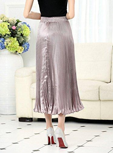 Manera Midi Rosa Claro Biilyli Fluorescente Elegante Falda Cintura De Mujeres Plisada Maxi Largas La Faldas Las Alta O8W7F8nwZq