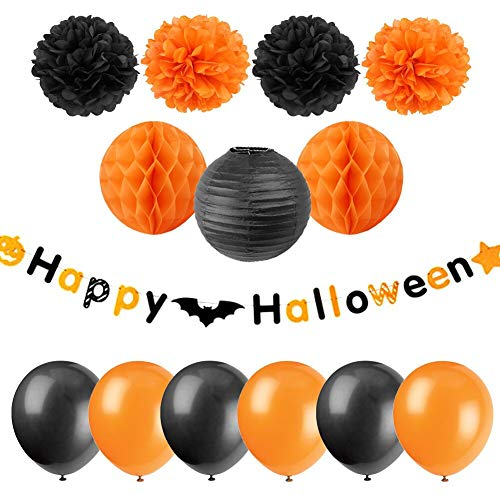 Halloween Party Supplies Happy Halloween Banner Black Orange Tissue Pom Poms Honeycomb Balls Latex Balloons All in One Pack 14pcs, Yong Party