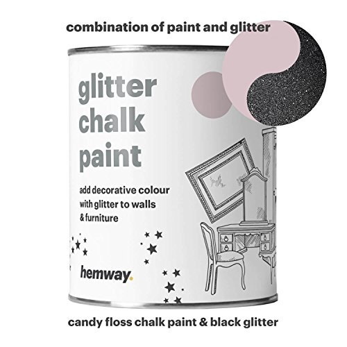 Hemway Candy Floss Chalk Paint (with Black Glitter) Sparkle Matt finish Wall and Furniture Paint 1L / 35oz Shabby Chic Vintage Chalky Crystal (25 Glittery Colours (Black Matt Paint)