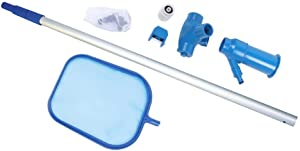 OTTAWA Professional Leaf Rake Mesh Frame Net Skimmer Pool Skimmer Net Cleaner Swimming Pool Spa Tool with Lightweight Telescoping Pole and Interchangeable Vacuum and Skimmer Heads (Blue)