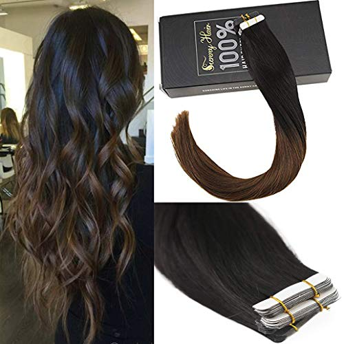 Sunny Remy Tape in Hair Extensions Human Hair 16'#1B Off Black Ombre to #4 Dark Brown Seamless Skin Weft Human Hair Extensions Invisible Tape Hair Extensions 20 pcs 50g/pack