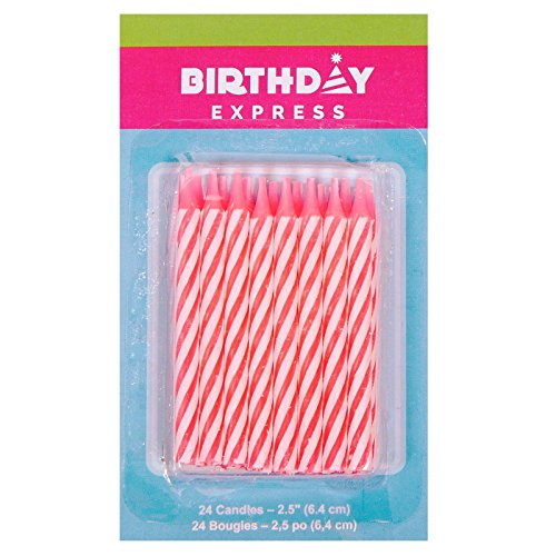 Oasis Supply Candy Stripe Birthday Candles, 2.5-Inch, (Candy Letters For Cakes)