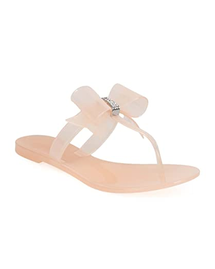 EE86 Women Jelly Bow T-Strap Slip on Thong Sandal - Pink