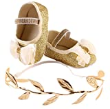 SHOBDW Girls Shoes, Baby Lovely Flower Party Birthday Sneaker Anti-Slip Hand Soft Toddler Shoes + Hairband Gifts Sets (6-9 Months, Gold)