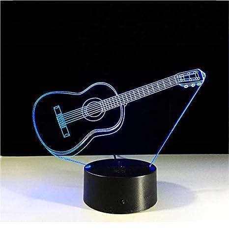Guitarra con Llavero Acrílico Luz Nocturna 3D, Baby 7 Color ...