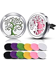 INFUSEU 2PCS Car Air Freshener Fragrance Essential Oil Diffuser Vent Clip Durable Stainless Steel Flower Rose & Cloud pattern Locket for Car Living Room Office