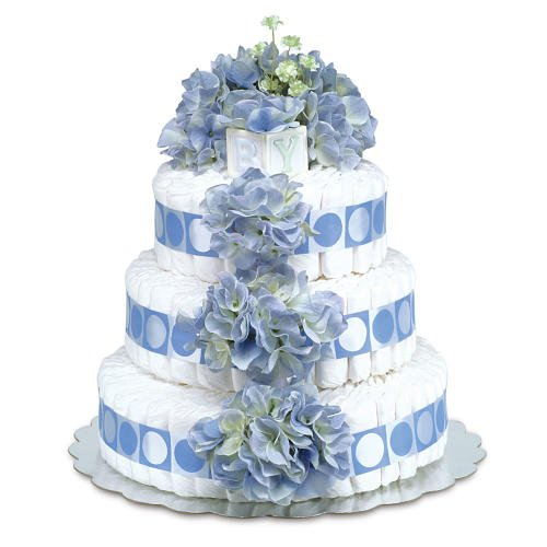 3-Tier Diaper Cake-Classic Blue Hydrangeas with Blue Circles - Large from Baby Bloomers
