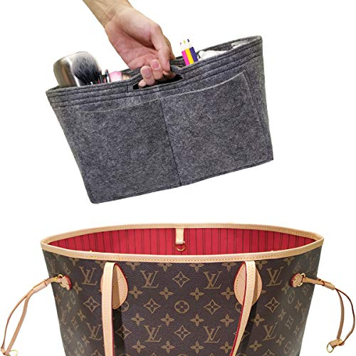 Wool Handbag Purse - LEXSION Felt Handbag Insert Organizer Bag In Bag with Two Removeable Holder 8020 Grey M