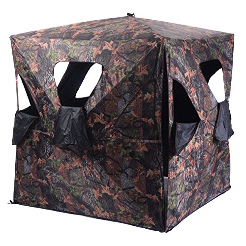 - TANGKULA Ground Hunting Blind Portable Deer Pop Up Camo Hunter Weather Proof Mesh Window