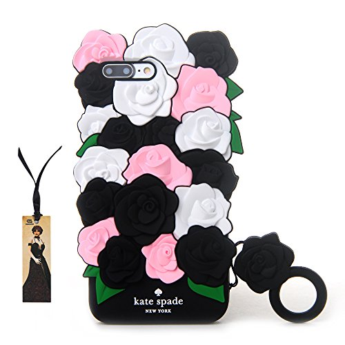 CASESOPHY Pretty 3D Rose Case for iPhone 7+ iPhone 7Plus 8+ 8Plus Large Size 5.5 Screen Soft Silicone Rubber Delicate Chic Cute High Fashion Premium for Girls Women Gift