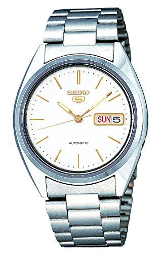 Seiko Men's SNXG47 Seiko 5 Automatic White Dial Stainless Steel Watch (Dial Polished White)