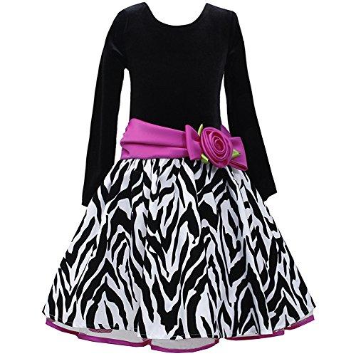Bonnie Jean Big Girls' Black Fuchsia Flocked Zebra Taffeta Skirt Dress, 16 ()
