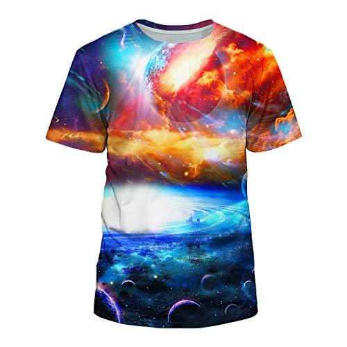 Kayolece Unisex 3D Realistic Printed Galaxy Short Sleeve Shirts - Adult Foal T-shirt