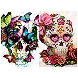 Diamond Painting Kits for Adults Kids,2 Pack 5D DIY Skull Diamond Art Accessories with Round Full Drill Dotz for Home Wall Decor - 11.8×15.7Inches