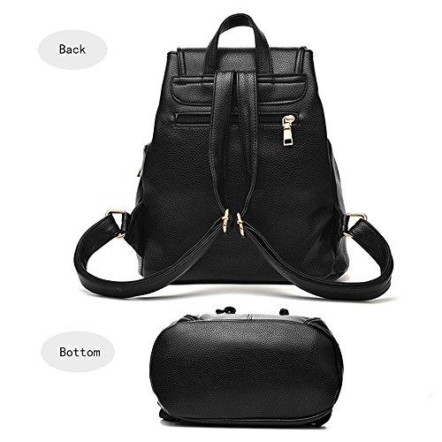 Bolso mochila mujer de estilo clásico de gran capacidad mochila de cuero PU bolsa escuela bolsa mochila mujer Rojo Bolsos Mochila Azul Oscuro Bolsos Mochila
