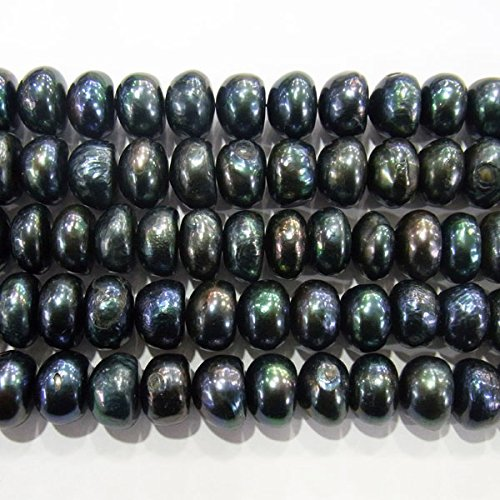 THETASTEJEWELRY 11-12mm Button Genuine Black Freshwater Cultured Pearl Dyed Loose Beads 15