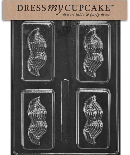 Dress My Cupcake DMCD113 Chocolate Candy Mold, Vintage Mustache Soap or Candy Bar