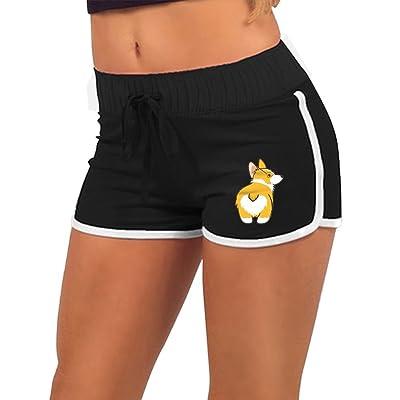 Women Summer Athletic Drawstring Shorts Corgi Butt Retro Running Yoga Gym Workout Pants