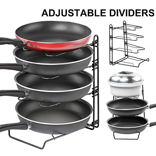 t And Pan Organizer Rack,GUSGU Detachable Kitchen Cabinet Organizer Holders For Pan Lids (Adjustable Lid Organizer)