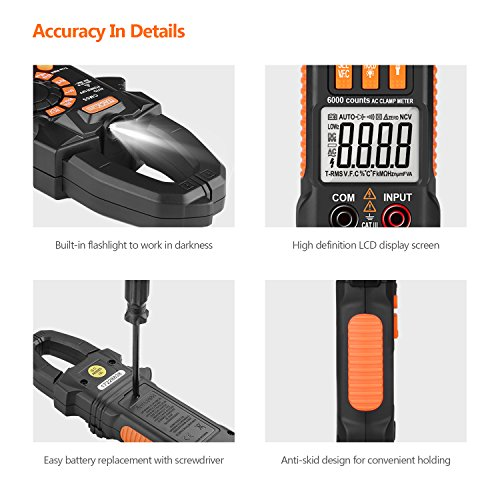Clamp Meter, Tacklife CM05 Clamp Multimeters, 6000 Counts,AC/DC Voltage Tester, AC Current Detector, AC Signal Frequency, VFC, NCV, Resistor, Capacitor, Diode, Duty Cycle, Continuity Tester by TACKLIFE (Image #4)