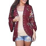 VANSOON Women Long Sleeve Sweater Lace Floral Open Cape Casual Coat Loose Blouse Kimono Jacket Cardigan Outwear