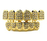 4 piece gold grill - 14K Gold Plated ICED OUT CZ GRILLZ Top Bottom SET (Top and Bottom Set)