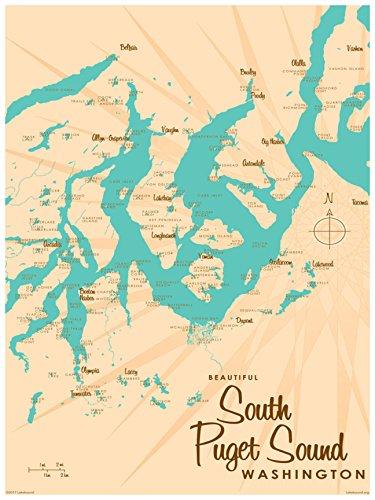 South Puget Sound Washington Map Vintage-Style Art Print by Lakebound (18