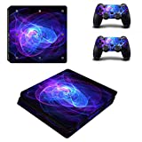 Cosines PS4 Slim Stickers Vinyl Decal Protective Console Skins Cover for Sony Playstation 4 Slim and 2 Controllers Blue Line Purple Swirl S Design