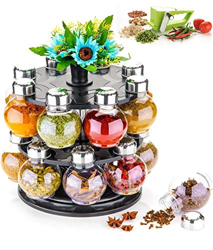 Roseleaf Spice Rack | Plastic Spice Rack | Spice Storage Container | revolving Rack | Condiments Set | 360 degree revolving Rack | Masala Rack | Spice