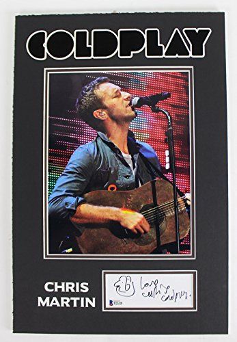 "Chris Martin Coldplay ""Love"" Signed & Matted 2×5 Cut Signature w/ Sketch BAS"