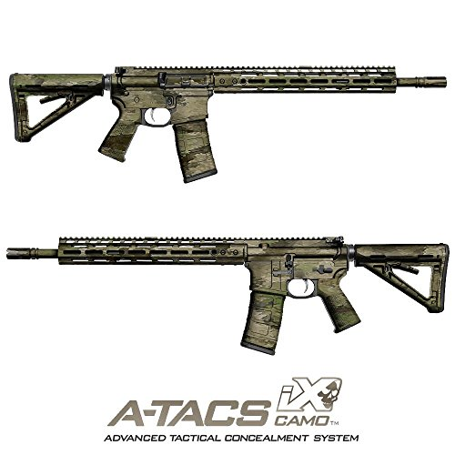 GunSkins AR-15/M4 Rifle Skin Camouflage Kit DIY Vinyl Wrap with precut Pieces (A-TACS IX from A-TACS Camo)