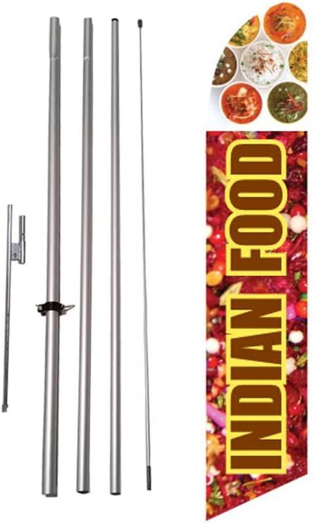 Indian Food Advertising Feather Flag Banner Sign with Pole kit and Ground Spike