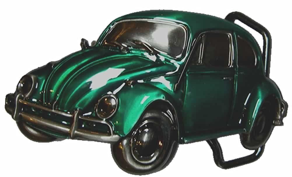 VW Green Beetle Officially Licensed Belt Buckle with display stand and presentation box