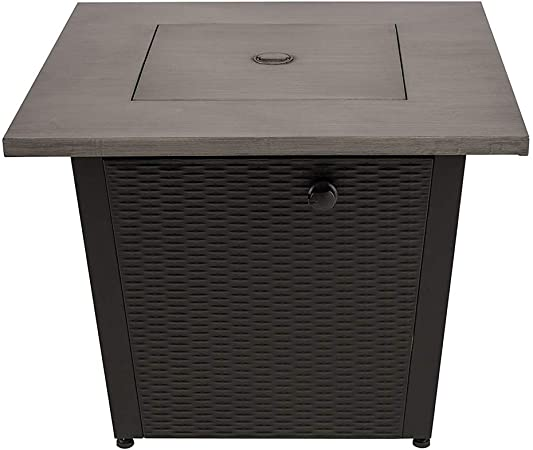 Legacy Heating 32inch Square Fire Pit With Grey Brushed Table Top and Steel Wicker Base