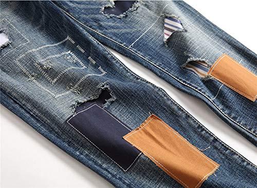 Tempo Metà Vita Della Versaces Lavaggio Jeans Libero Vestibilità Color Toppa Pantaloni 1 Logoro Slim Maschi Dritto qTHfwPq