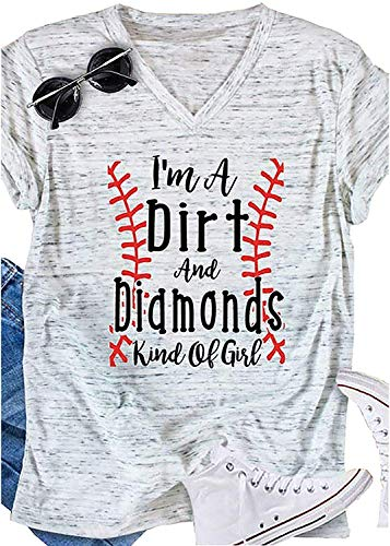 Women I'm A Dirt and Diamonds Kind of Girl Baseball Shirt Short Sleeve Funny Sports Graphic Tees Tops (XL) White