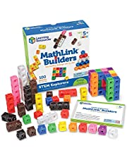 Learning Resources LER9294 STEM Explorers MathLink Builders Game (100 Piece),Multi