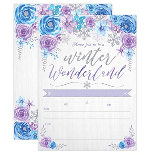 (Winter Wonderland Invitations, Snowflake invites for Birthday, Baby Shower, Wedding Rehearsal Dinner, Bridal Shower, Engagement, Bachelorette Party, Reception, Anniversary, Snowflake Birthday Invite )