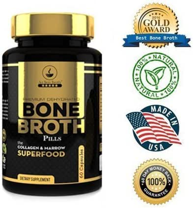 Bone Broth Protein Powder Superfood Capsules - Organic Dehydrated Grassfed Beef + Chicken Powder Blend Pills - Non-GMO - Collagen + Bone Broth Protein (60 Capsules Total)