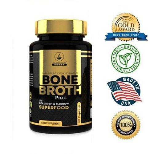 Bone Broth Protein Powder Superfood Capsules - Organic Dehydrated Grassfed Beef + Chicken Powder Blend Pills - Non-GMO - Great Source of Collagen + Bone Broth Protein (60 Capsules Total)