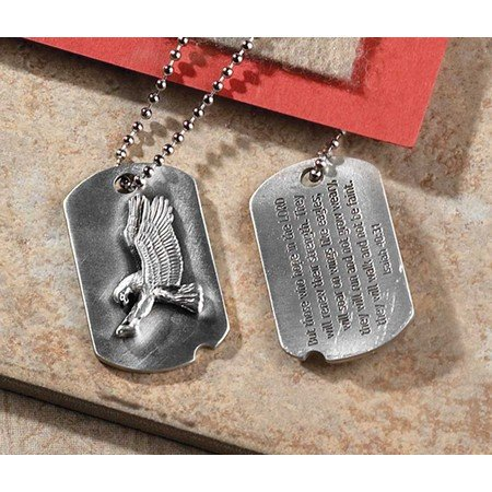 Christian Pewter Dog Tag Necklace with Embossed Eagle and Isaiah 40:31
