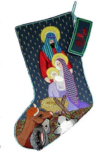 'The Nativity' Crewel Christmas Stocking