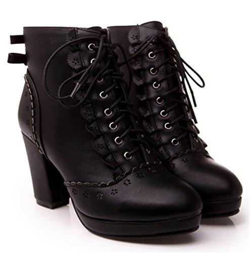YE Damen Chunky High Heels Plateau Schnürstiefeletten mit Schleife 8cm Absatz Designer Winter Ankle Boots Süße Bequeme Herbst Schuhe Schwarz