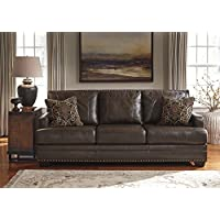 Corvan Antique Color Contemporary Genuine Leather Sofa