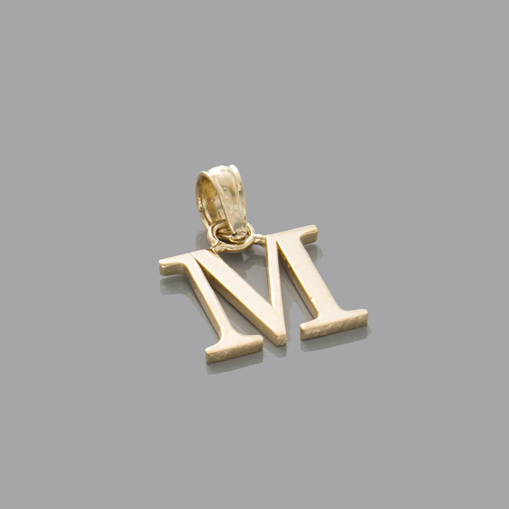 M Block Initial 14k Yellow Gold Letter Charm Pendant High Polish