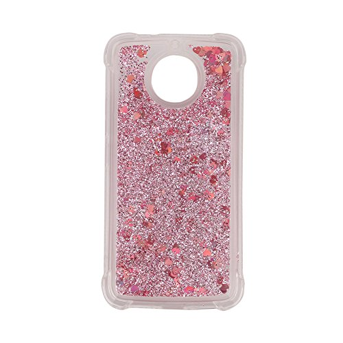 For Motorola MOTO G5S/G6 Phone Case with Screen Protector, Aearl Bling Glitter Liquid Luxury Sparkle Shiny Flowing Quicksand Clear Transparent TPU Bumper Cover for MOTO G5S - Diamond Rose Gold Heart