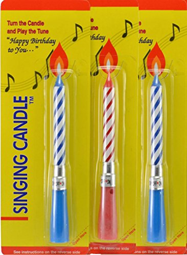 Singing Musical Happy Birthday Candles (3 Pack) Red Blue -