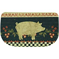 Bacova Guild Standsoft Anti Fatigue Mat, Half Round Kitchen Rug, 30 x 18, Retro Pig
